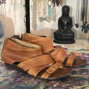 Leather wrap style sandals